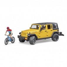 Bruder Jeep Wrangler Rubicon Unlimited hegyi kerékpárral és kerékpárossal