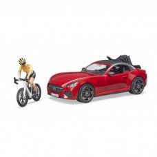 Bruder Roadster versenykerékpárral és versenyzővel