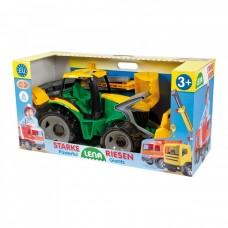 Lena - Óriás traktor homlokrakodóval és markolókanállal sárga/zöld 65cm