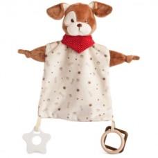 Bear Toys plüss baby kutya kendő csörgő