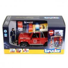 Bruder  Bworld tűzoltóállomás Land Rover Defender tűzoltóautóval