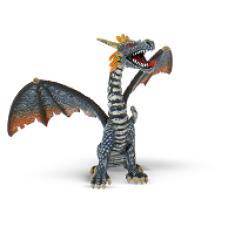 Bullyland ülő sárkány kék-ezüst,  játékfigura
