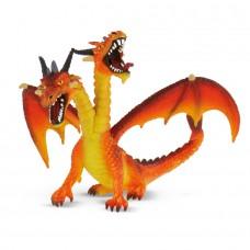 Bullyland kétfejű sárkány narancssárga játékfigura
