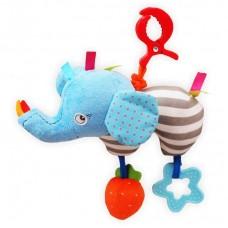 Baby Mix felfüggeszthető plüss játék, Elefánt rágóka figurákkal