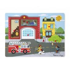 Melissa&Doug fa,hangospuzzle,tűzoltóállomás